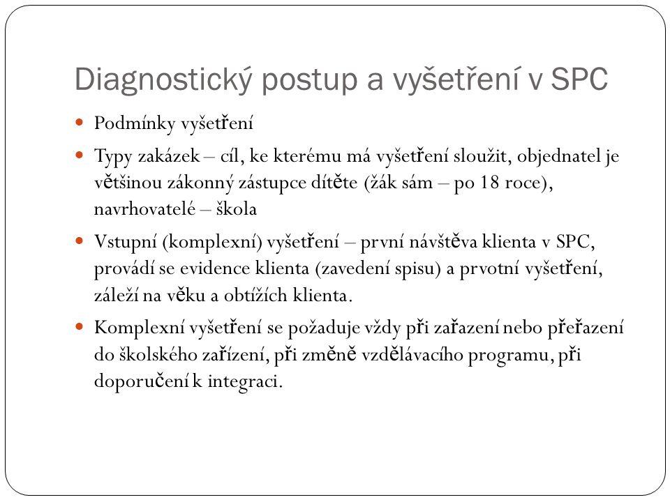 Diagnostický postup a vyšetření v SPC Podmínky vyšet ř ení Typy zakázek – cíl, ke kterému má vyšet ř ení sloužit, objednatel je v ě tšinou zákonný zás