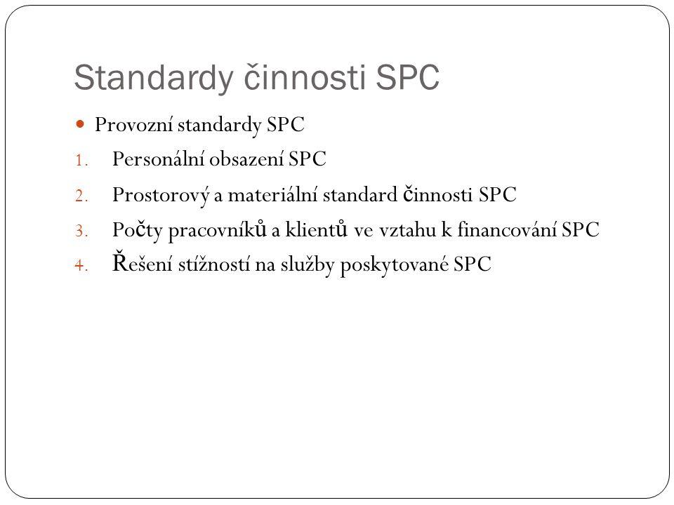 Standardy činnosti SPC Provozní standardy SPC 1. Personální obsazení SPC 2. Prostorový a materiální standard č innosti SPC 3. Po č ty pracovník ů a kl
