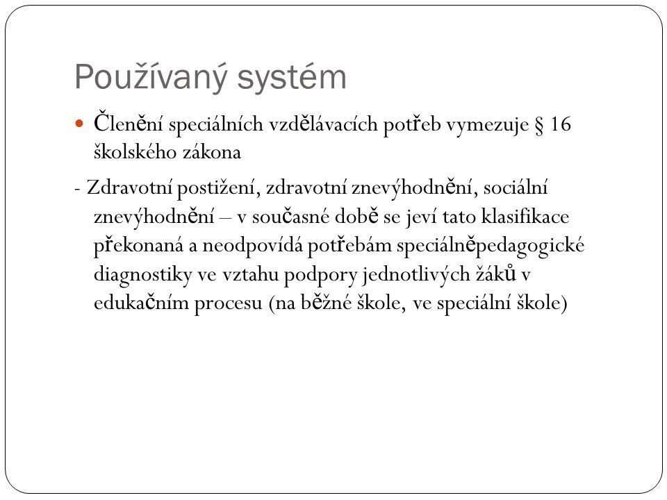 Používaný systém Č len ě ní speciálních vzd ě lávacích pot ř eb vymezuje § 16 školského zákona - Zdravotní postižení, zdravotní znevýhodn ě ní, sociál