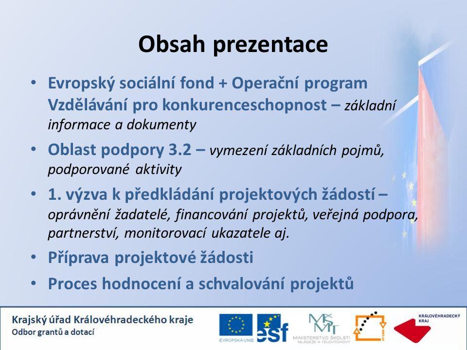 Evropský sociální fond (ESF) založen již v roce 1957 hlavní finanční nástroj EU pro realizaci Evropské strategie zaměstnanosti – investice do lidských zdrojů prostřednictvím podpory zaměstnanosti, vzdělávání, sociálního začleňování a rovných příležitostí na trhu práce Programové období 2007 – 2013  Operační program Vzdělávání pro konkurenceschopnost (OP VK)  Operační program Lidské zdroje a zaměstnanost (OP LZZ)  Operační program Praha Adaptabilita (OP PA)