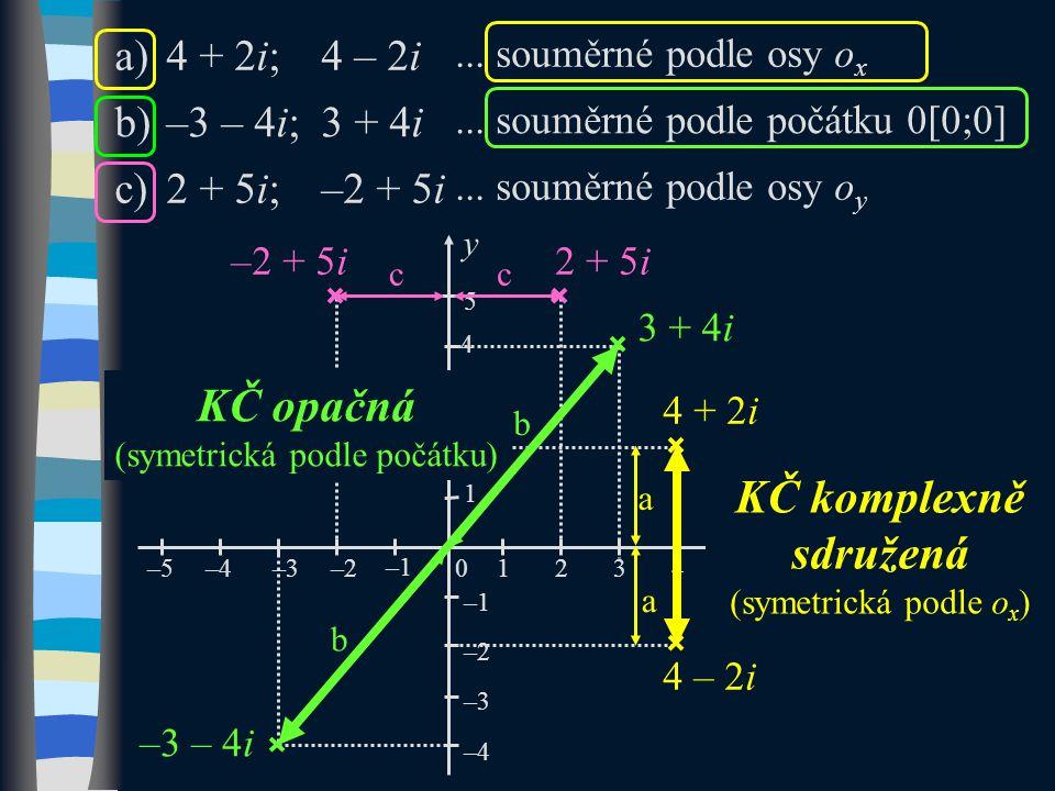 a)4 + 2i;4 – 2i... souměrné podle osy o x b)–3 – 4i;3 + 4i...
