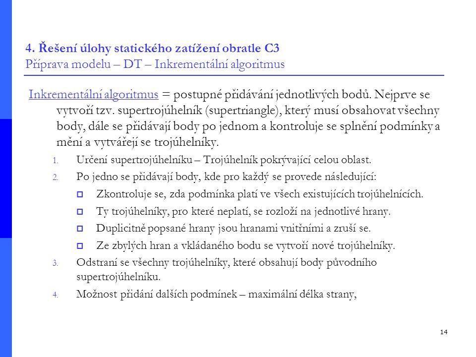 14 4. Řešení úlohy statického zatížení obratle C3 Příprava modelu – DT – Inkrementální algoritmus Inkrementální algoritmus = postupné přidávání jednot