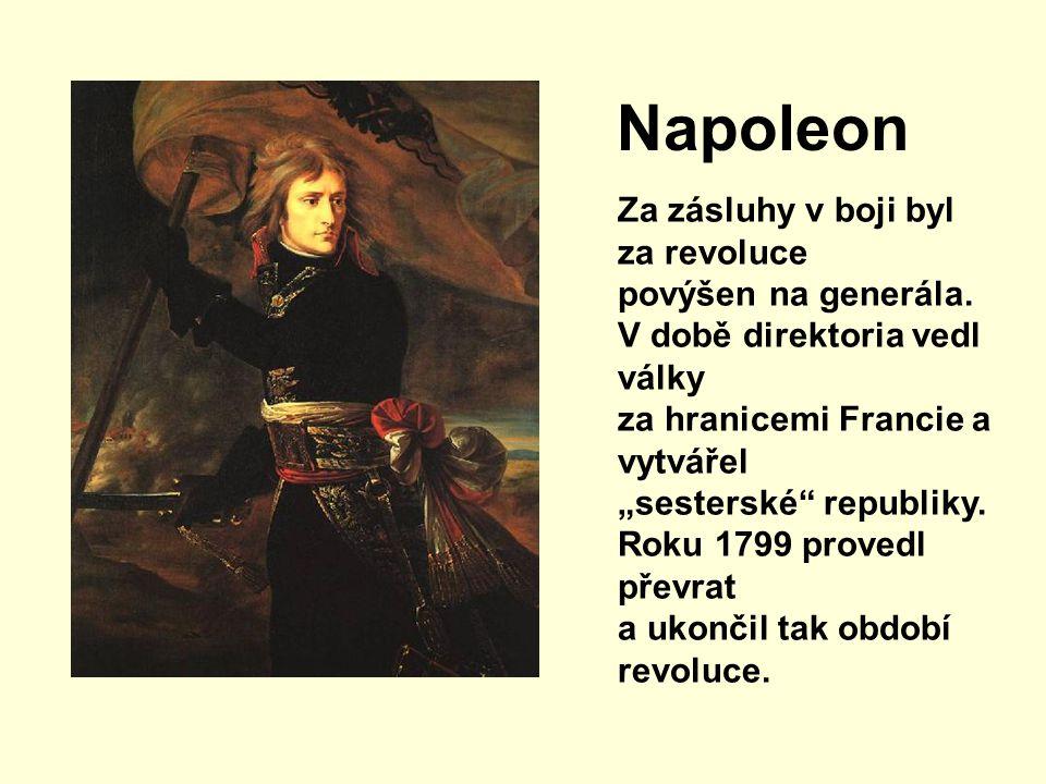 """Napoleon Za zásluhy v boji byl za revoluce povýšen na generála. V době direktoria vedl války za hranicemi Francie a vytvářel """"sesterské"""" republiky. Ro"""