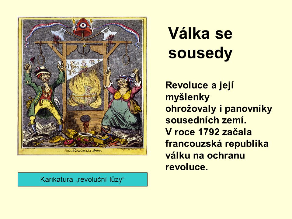 """Karikatura """"revoluční lůzy"""" Válka se sousedy Revoluce a její myšlenky ohrožovaly i panovníky sousedních zemí. V roce 1792 začala francouzská republika"""