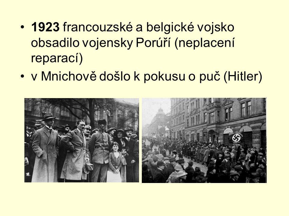 1923 francouzské a belgické vojsko obsadilo vojensky Porúří (neplacení reparací) v Mnichově došlo k pokusu o puč (Hitler)