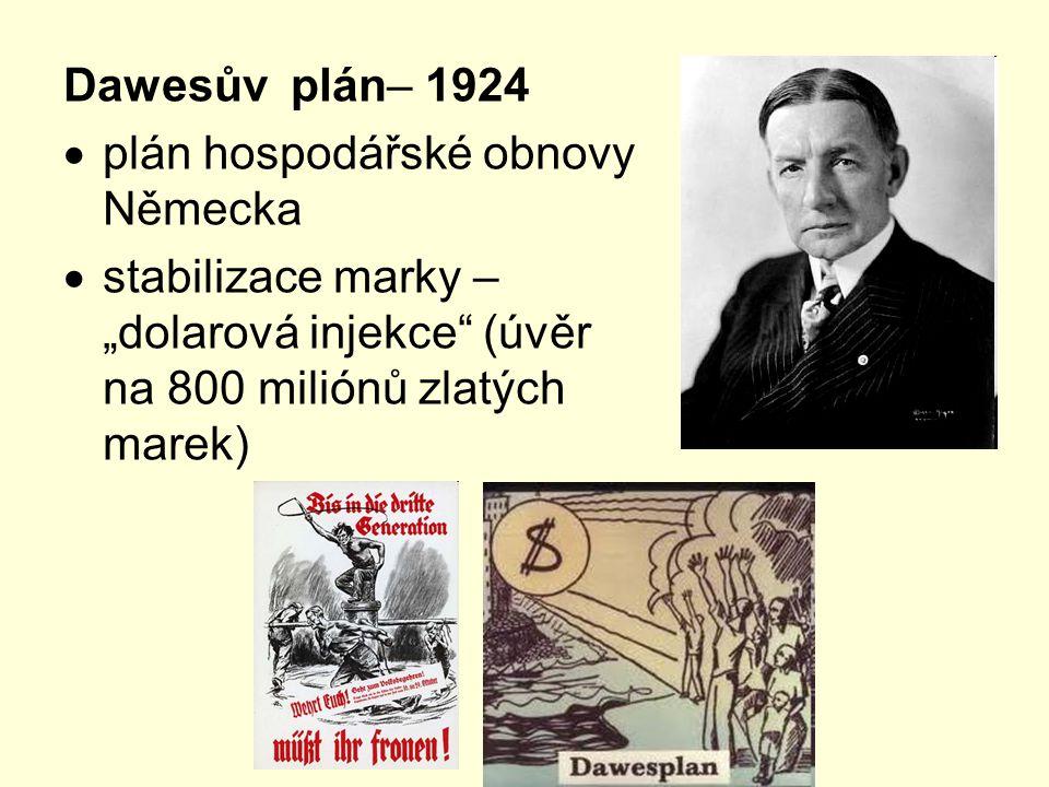 """Dawesův plán– 1924  plán hospodářské obnovy Německa  stabilizace marky – """"dolarová injekce"""" (úvěr na 800 miliónů zlatých marek)"""