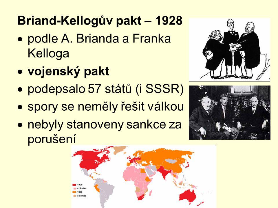 Briand-Kellogův pakt – 1928  podle A. Brianda a Franka Kelloga  vojenský pakt  podepsalo 57 států (i SSSR)  spory se neměly řešit válkou  nebyly