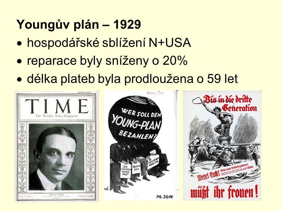 Youngův plán – 1929  hospodářské sblížení N+USA  reparace byly sníženy o 20%  délka plateb byla prodloužena o 59 let