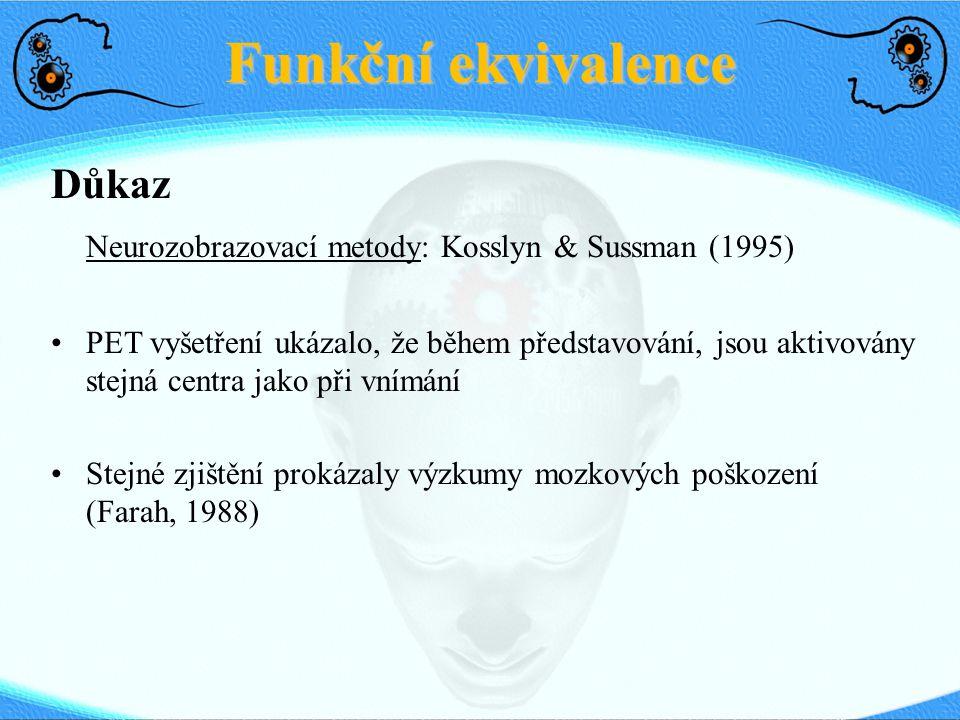 Funkční ekvivalence Důkaz Neurozobrazovací metody: Kosslyn & Sussman (1995) PET vyšetření ukázalo, že během představování, jsou aktivovány stejná cent