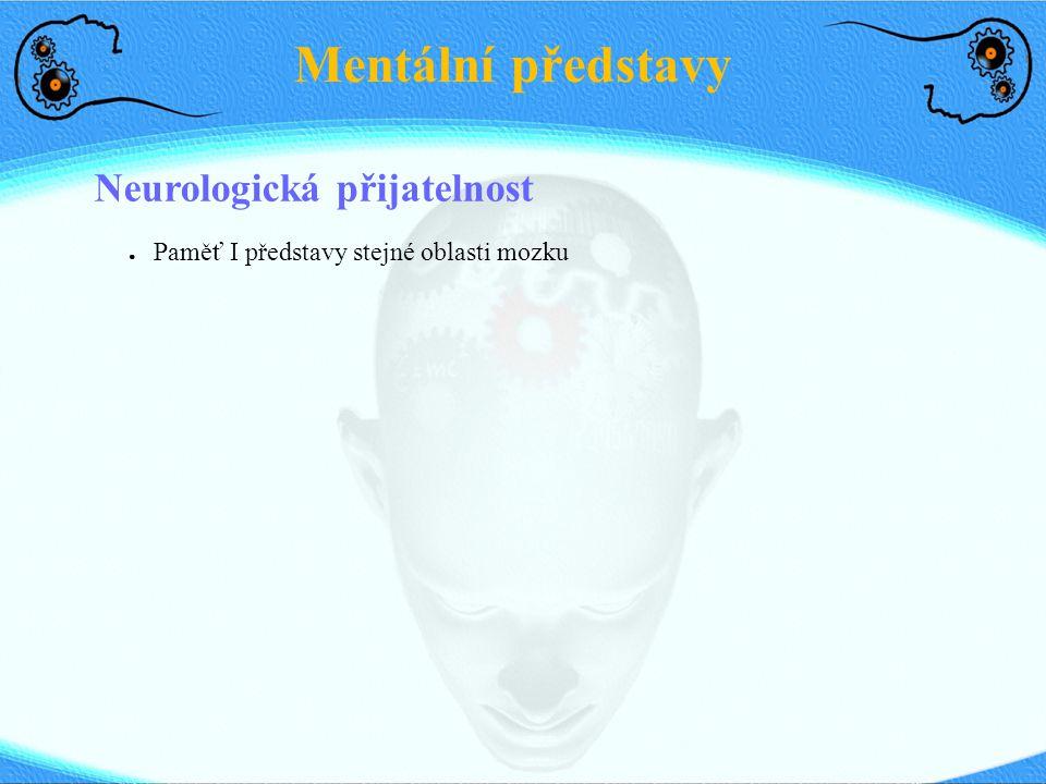 Mentální představy Neurologická přijatelnost ● Paměť I představy stejné oblasti mozku