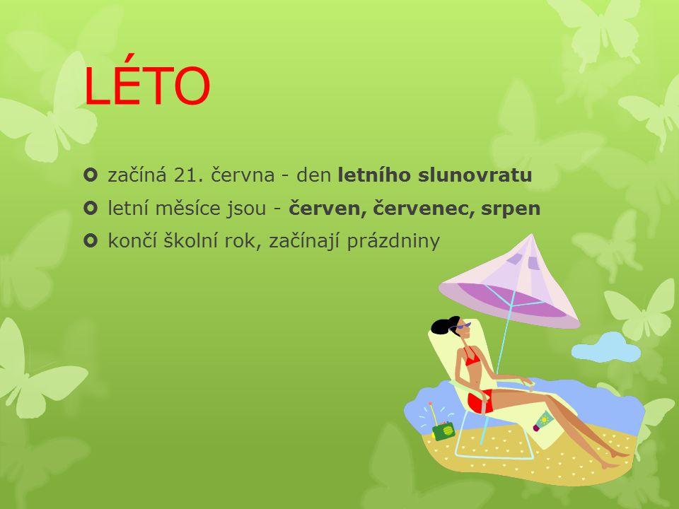 LÉTO  začíná 21. června - den letního slunovratu  letní měsíce jsou - červen, červenec, srpen  končí školní rok, začínají prázdniny