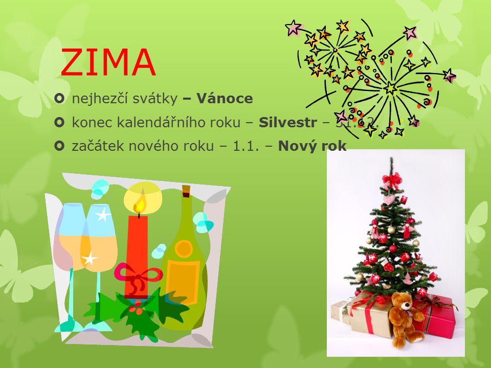 ZIMA  nejhezčí svátky – Vánoce  konec kalendářního roku – Silvestr – 31.12.  začátek nového roku – 1.1. – Nový rok