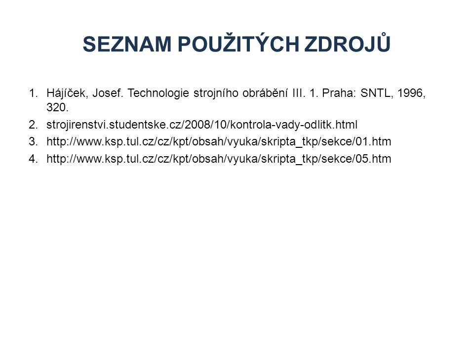 1.Hájíček, Josef. Technologie strojního obrábění III. 1. Praha: SNTL, 1996, 320. 2.strojirenstvi.studentske.cz/2008/10/kontrola-vady-odlitk.html 3.htt