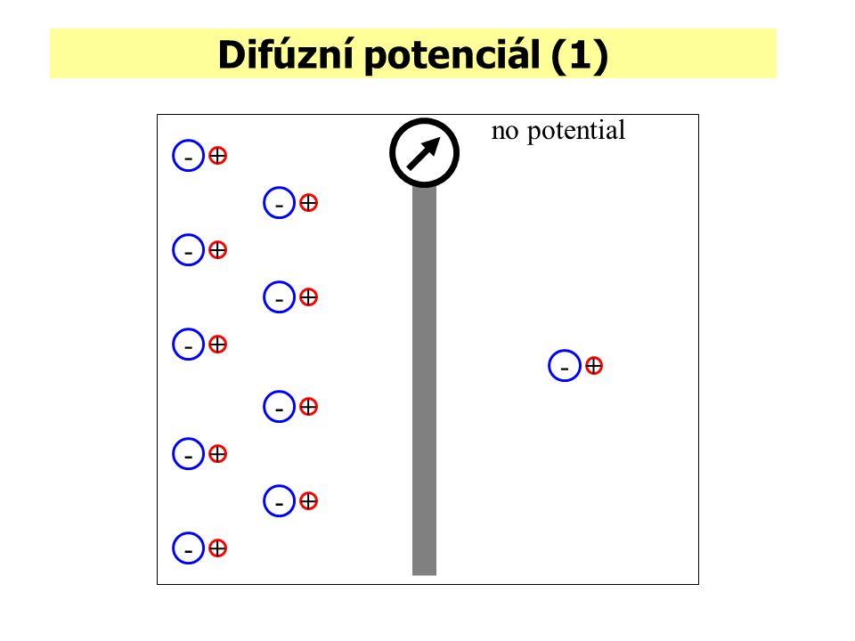 Difúzní potenciál (1) no potential - + - + - + - + - + - + - + - + - + - +