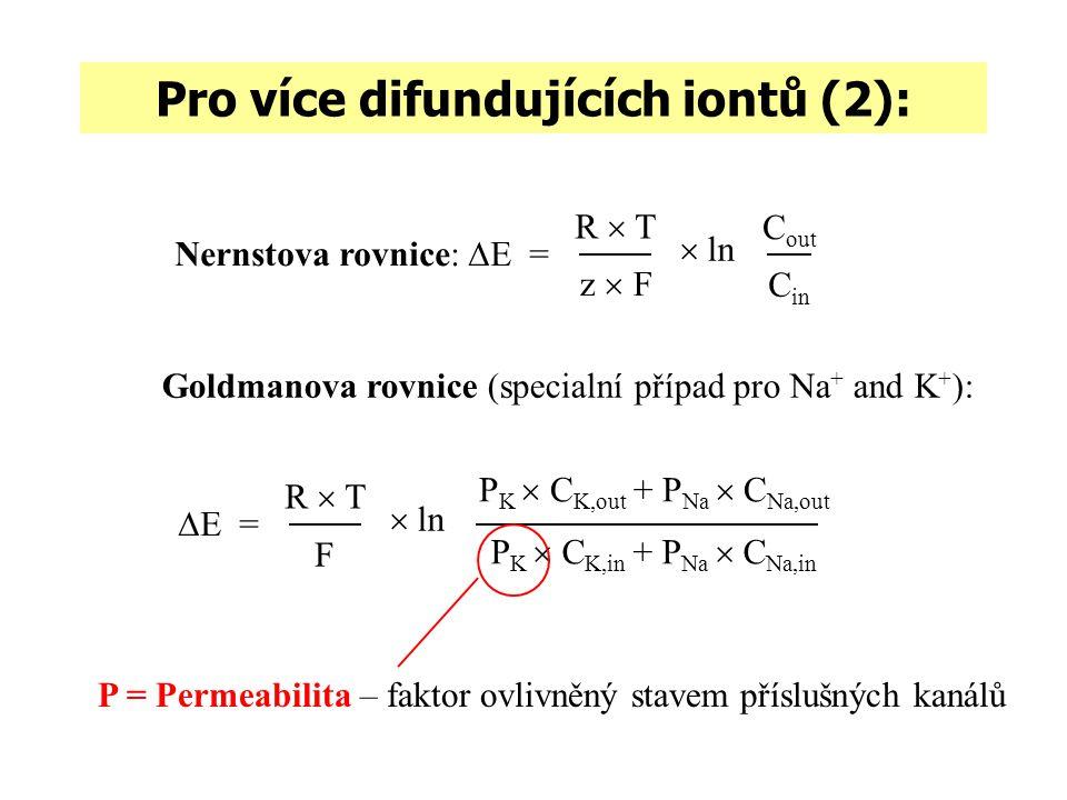 Pro více difundujících iontů (2): Goldmanova rovnice (specialní případ pro Na + and K + ): Nernstova rovnice:  E = R  T z  F C out C in  ln  E =