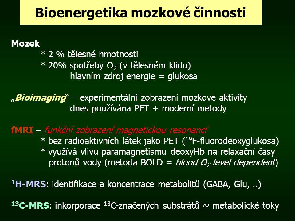 """Bioenergetika mozkové činnosti Mozek * 2 % tělesné hmotnosti * 20% spotřeby O 2 (v tělesném klidu) hlavním zdroj energie = glukosa """"Bioimaging"""" – expe"""