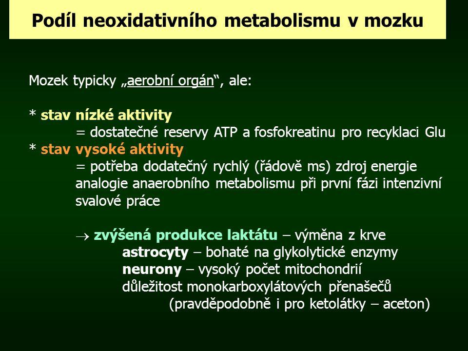 """Podíl neoxidativního metabolismu v mozku Mozek typicky """"aerobní orgán"""", ale: * stav nízké aktivity = dostatečné reservy ATP a fosfokreatinu pro recykl"""