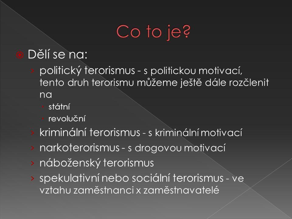  Dělí se na: › politický terorismus - s politickou motivací, tento druh terorismu můžeme ještě dále rozčlenit na  státní  revoluční › kriminální te