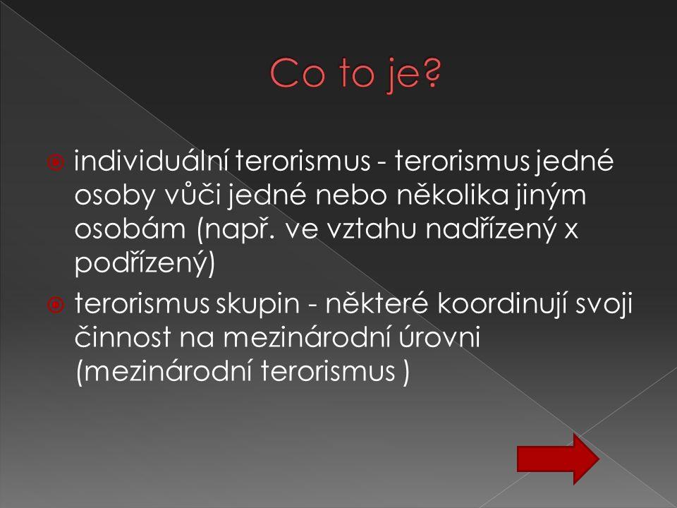  individuální terorismus - terorismus jedné osoby vůči jedné nebo několika jiným osobám (např. ve vztahu nadřízený x podřízený)  terorismus skupin -