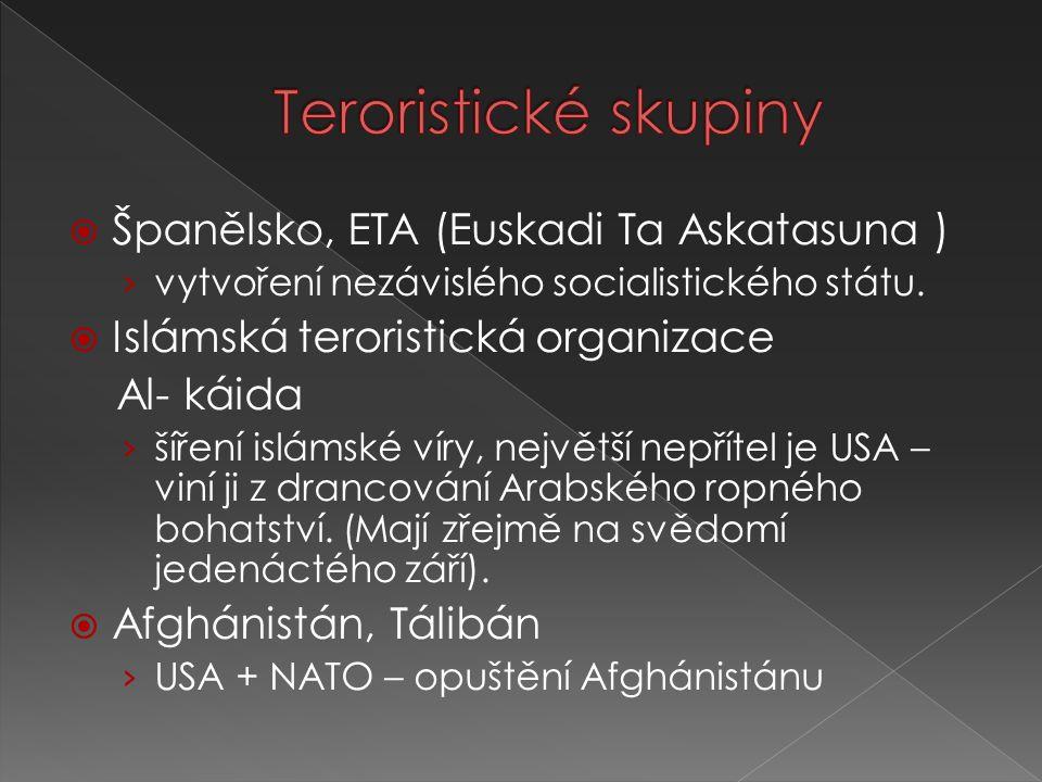  Španělsko, ETA (Euskadi Ta Askatasuna ) › vytvoření nezávislého socialistického státu.  Islámská teroristická organizace Al- káida › šíření islámsk