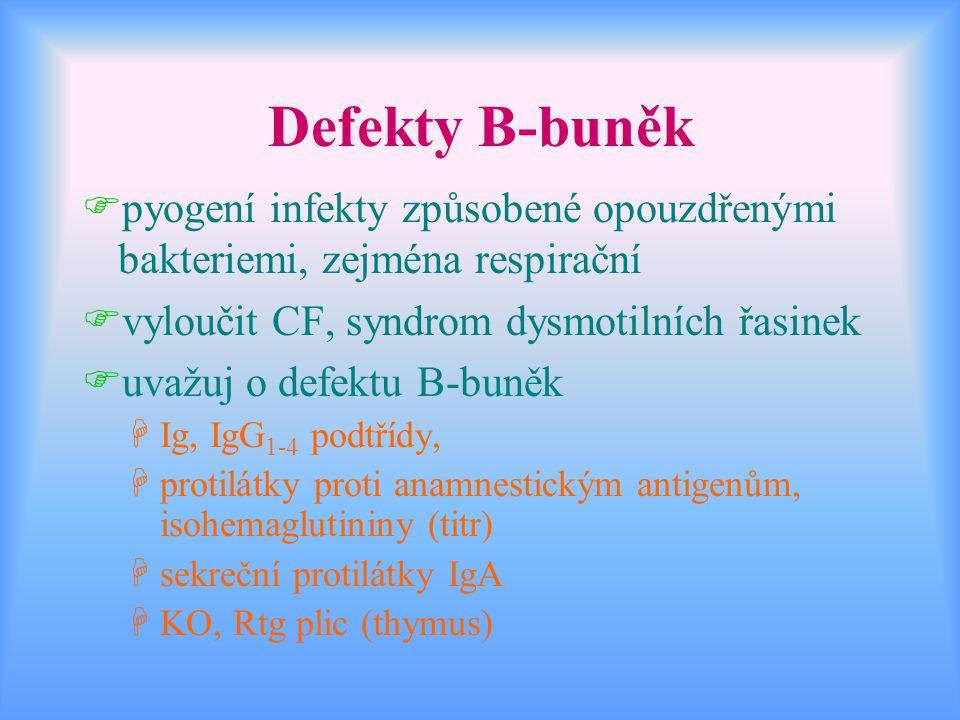 Defekty B-buněk Fpyogení infekty způsobené opouzdřenými bakteriemi, zejména respirační Fvyloučit CF, syndrom dysmotilních řasinek Fuvažuj o defektu B-