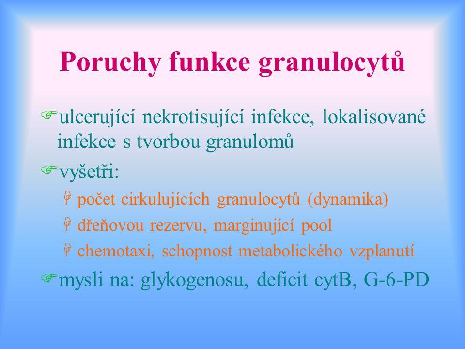 Poruchy funkce granulocytů Fulcerující nekrotisující infekce, lokalisované infekce s tvorbou granulomů Fvyšetři: Hpočet cirkulujících granulocytů (dyn