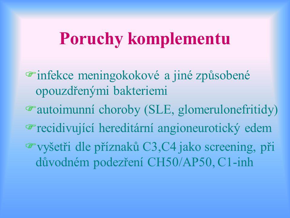 Poruchy komplementu Finfekce meningokokové a jiné způsobené opouzdřenými bakteriemi Fautoimunní choroby (SLE, glomerulonefritidy) Frecidivující heredi