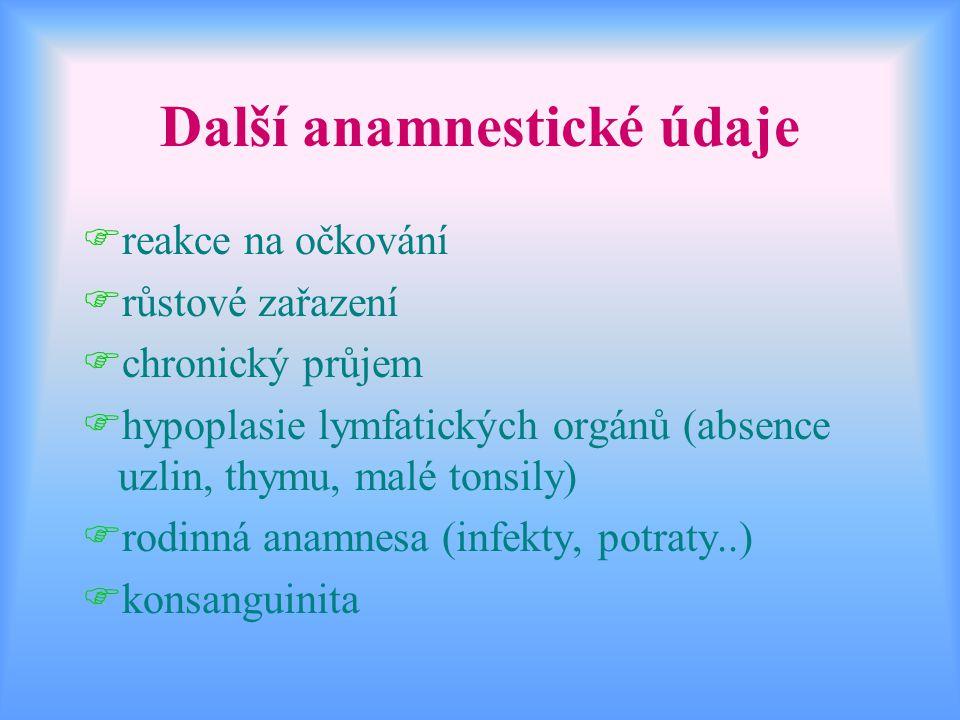 Další anamnestické údaje Freakce na očkování Frůstové zařazení Fchronický průjem Fhypoplasie lymfatických orgánů (absence uzlin, thymu, malé tonsily)