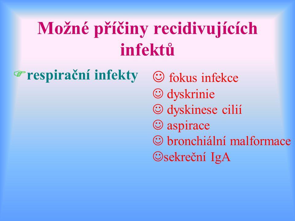 Možné příčiny recidivujících infektů Frespirační infekty J fokus infekce J dyskrinie J dyskinese cilií J aspirace J bronchiální malformace Jsekreční I