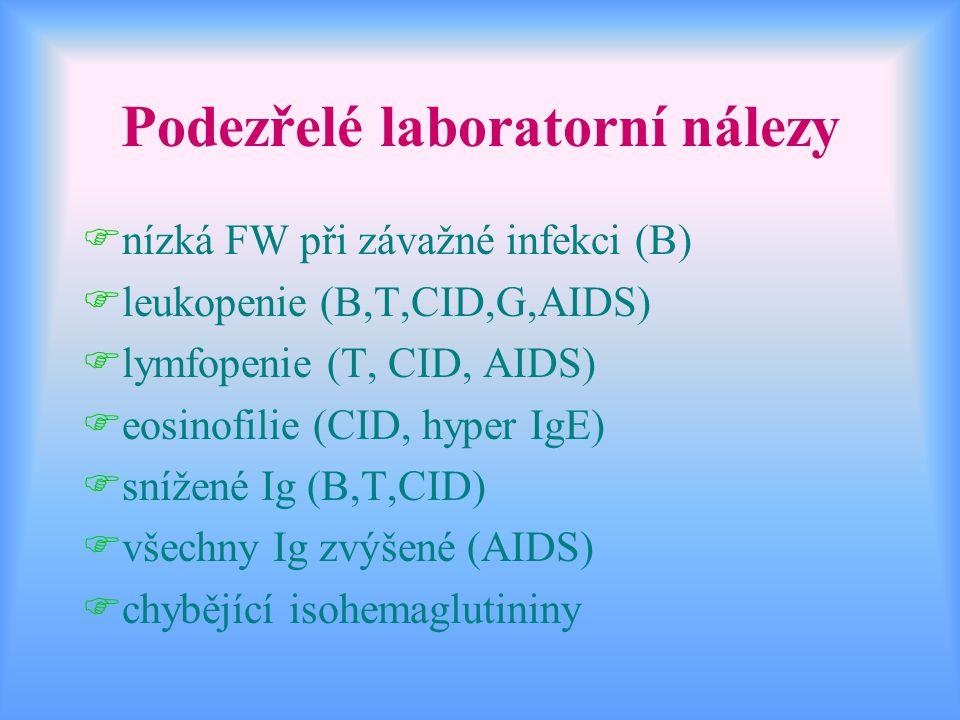 Podezřelé laboratorní nálezy Fnízká FW při závažné infekci (B) Fleukopenie (B,T,CID,G,AIDS) Flymfopenie (T, CID, AIDS) Feosinofilie (CID, hyper IgE) F