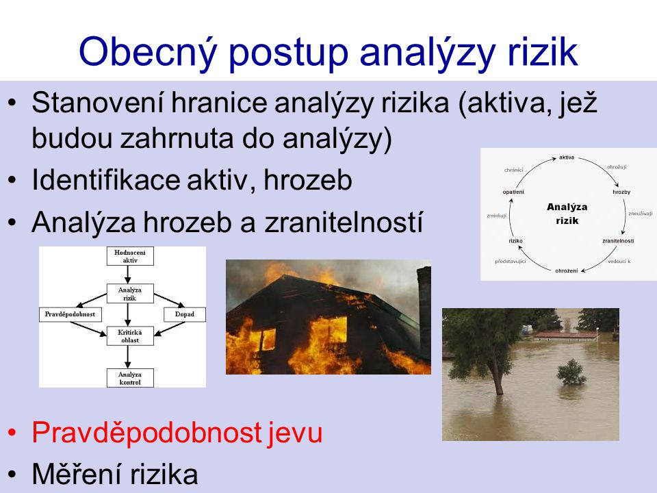 Obecný postup analýzy rizik Stanovení hranice analýzy rizika (aktiva, jež budou zahrnuta do analýzy) Identifikace aktiv, hrozeb Analýza hrozeb a zranitelností Pravděpodobnost jevu Měření rizika