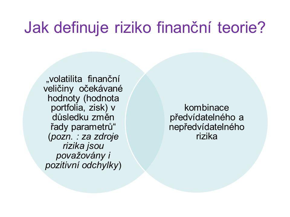 Jak definuje riziko finanční teorie.