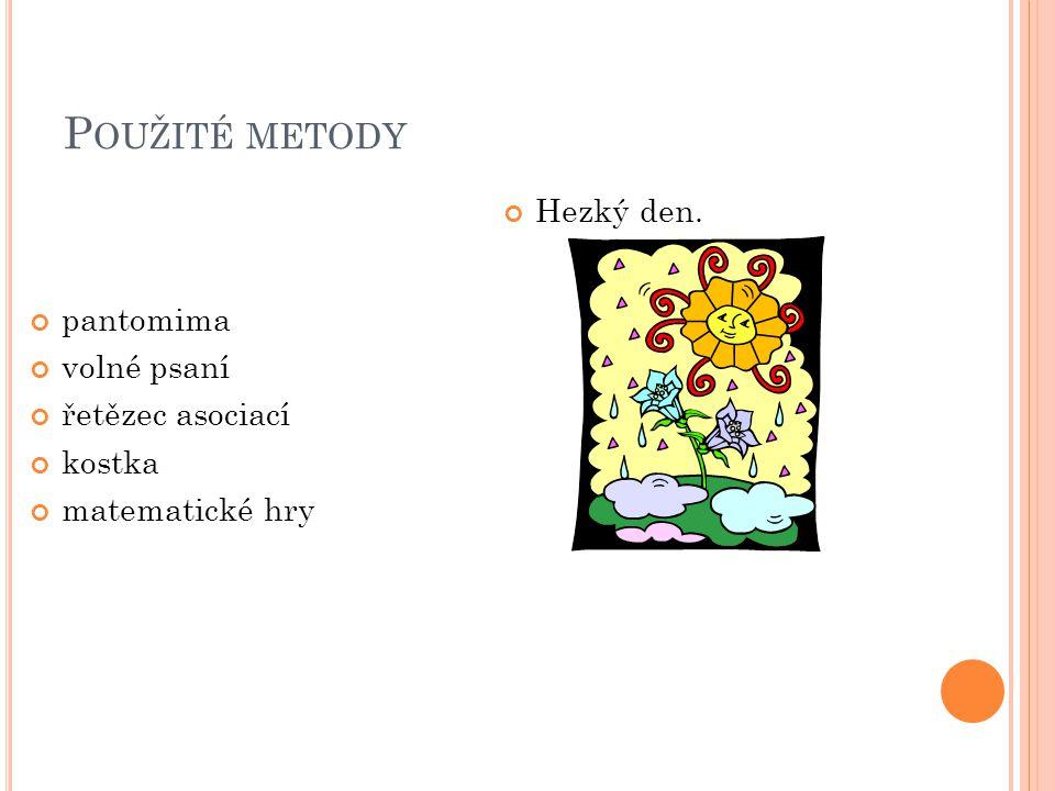 P OUŽITÉ METODY pantomima volné psaní řetězec asociací kostka matematické hry Hezký den.