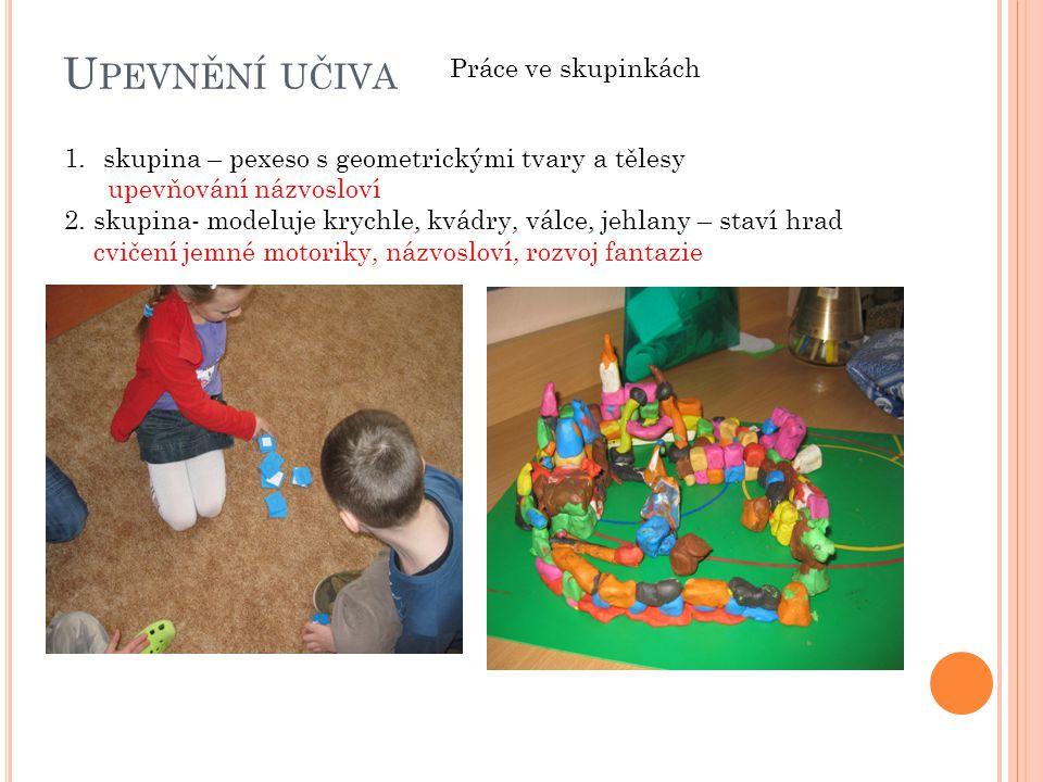 U PEVNĚNÍ UČIVA Práce ve skupinkách 1.skupina – pexeso s geometrickými tvary a tělesy upevňování názvosloví 2. skupina- modeluje krychle, kvádry, válc