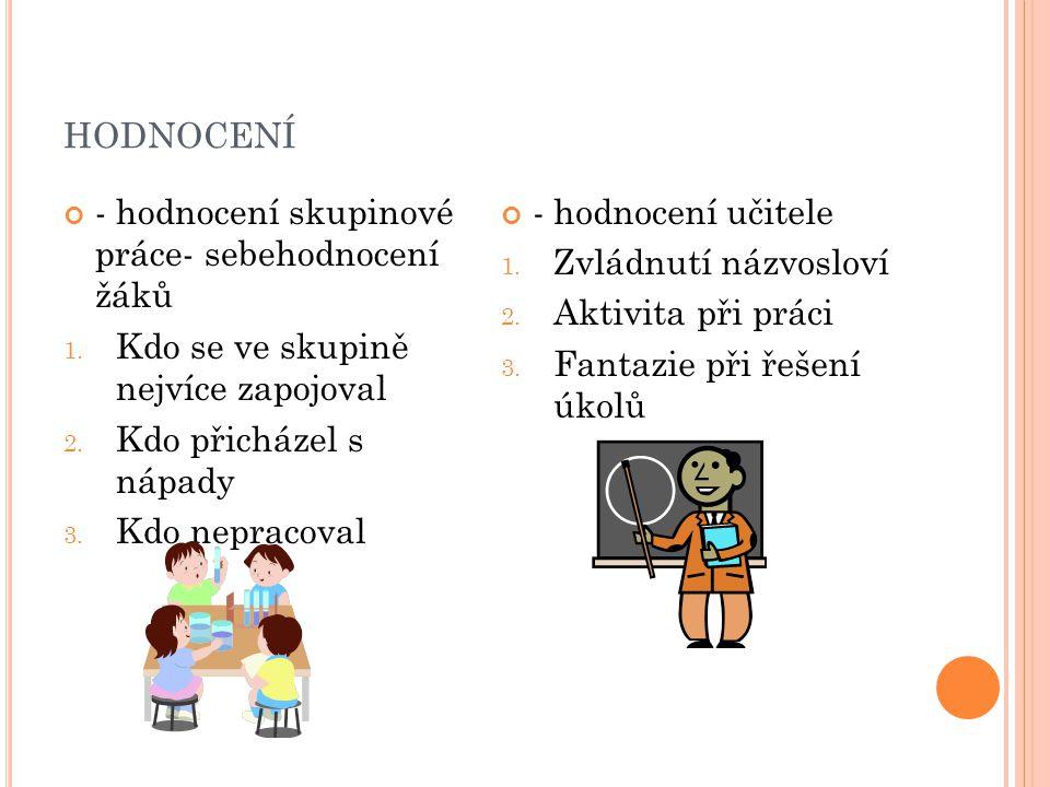 HODNOCENÍ - hodnocení skupinové práce- sebehodnocení žáků 1.