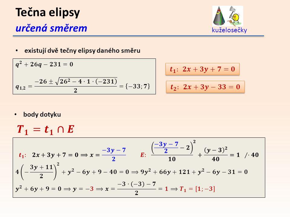 Tečna elipsy určená směrem kuželosečky existují dvě tečny elipsy daného směru body dotyku