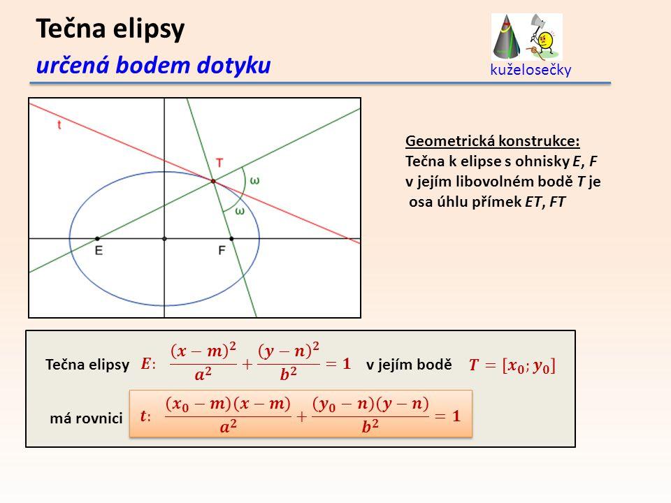 určená bodem dotyku kuželosečky Tečna elipsyv jejím bodě má rovnici Geometrická konstrukce: Tečna k elipse s ohnisky E, F v jejím libovolném bodě T je