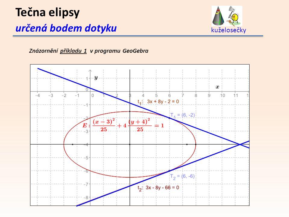 Tečna elipsy určená bodem dotyku kuželosečky Znázornění příkladu 1 v programu GeoGebra