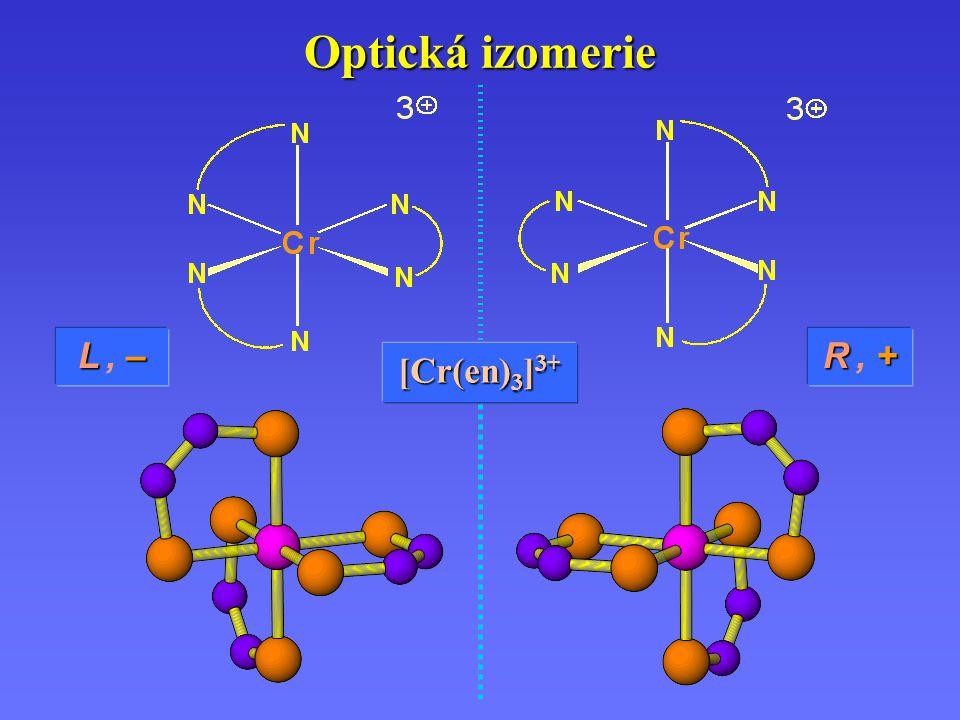 Optická izomerie L –L, –L –L, – [Cr(en) 3 ] 3+ R +R, +R +R, +