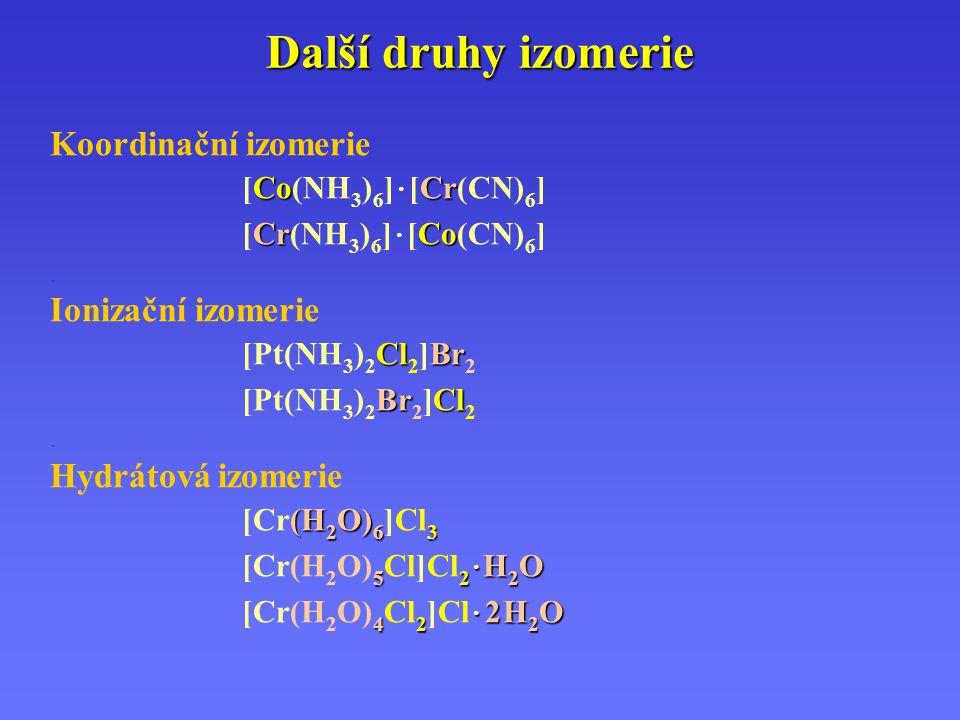 Další druhy izomerie Koordinační izomerie CoCr [Co(NH 3 ) 6 ] · [Cr(CN) 6 ] CrCo [Cr(NH 3 ) 6 ] · [Co(CN) 6 ]. Ionizační izomerie ClBr [Pt(NH 3 ) 2 Cl