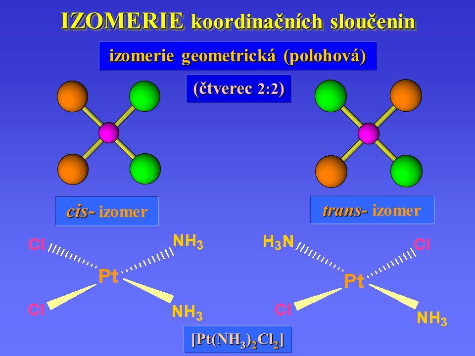 IZOMERIE koordinačních sloučenin cis- cis- izomer trans- trans- izomer izomerie geometrická (polohová) [Pt(NH 3 ) 2 Cl 2 ] (čtverec 2:2 )