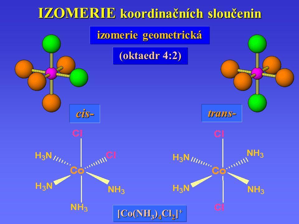 IZOMERIE koordinačních sloučenin cis- trans- izomerie geometrická (oktaedr 4:2) [Co(NH 3 ) 4 Cl 2 ] +