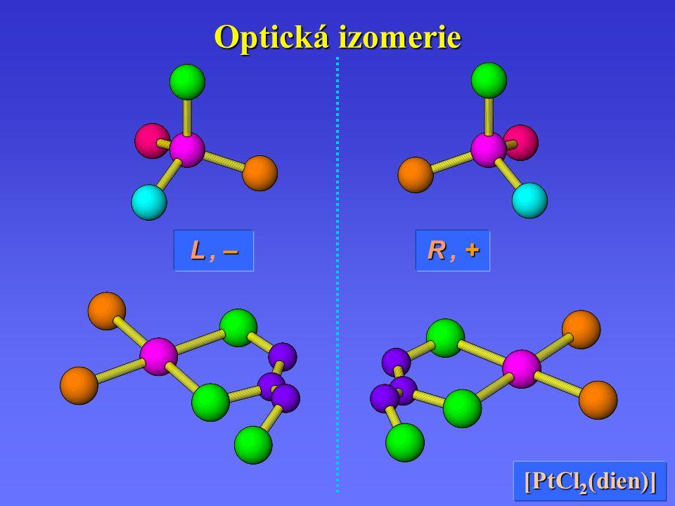 Optická izomerie R +R, +R +R, + L –L, –L –L, – [PtCl 2 (dien)]