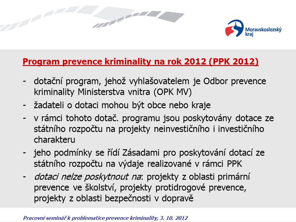 Pracovní seminář k problematice prevence kriminality, 3. 10. 2012 Program prevence kriminality na rok 2012 (PPK 2012) -dotační program, jehož vyhlašov