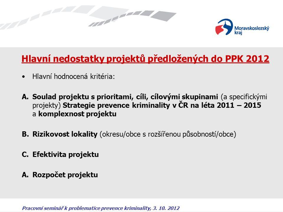 Pracovní seminář k problematice prevence kriminality, 3. 10. 2012 Hlavní nedostatky projektů předložených do PPK 2012 Hlavní hodnocená kritéria: A.Sou