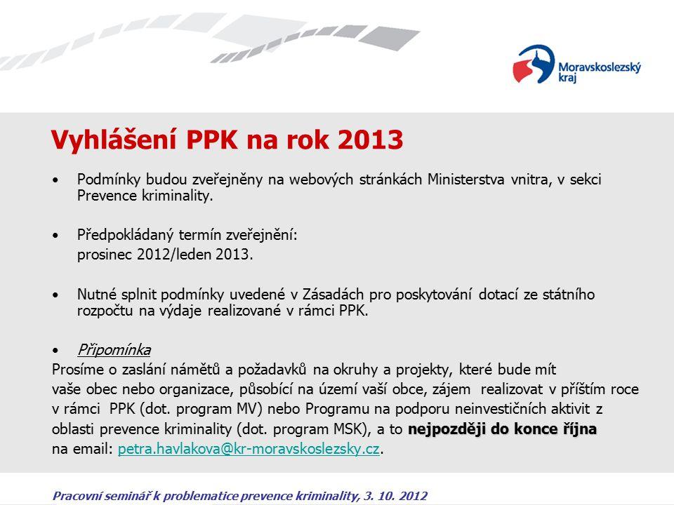 Pracovní seminář k problematice prevence kriminality, 3. 10. 2012 Vyhlášení PPK na rok 2013 Podmínky budou zveřejněny na webových stránkách Ministerst