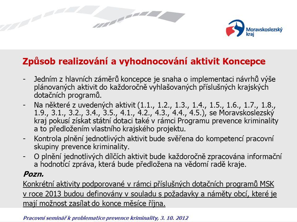 Pracovní seminář k problematice prevence kriminality, 3. 10. 2012 Způsob realizování a vyhodnocování aktivit Koncepce -Jedním z hlavních záměrů koncep