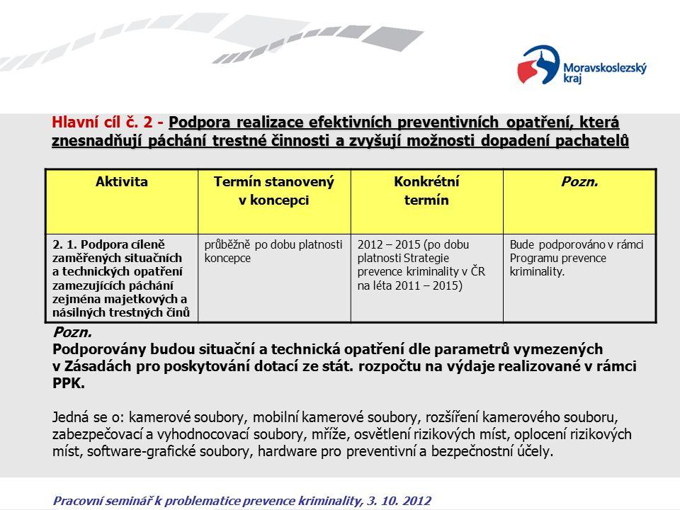 Pracovní seminář k problematice prevence kriminality, 3. 10. 2012 Podpora realizace efektivních preventivních opatření, která znesnadňují páchání tres