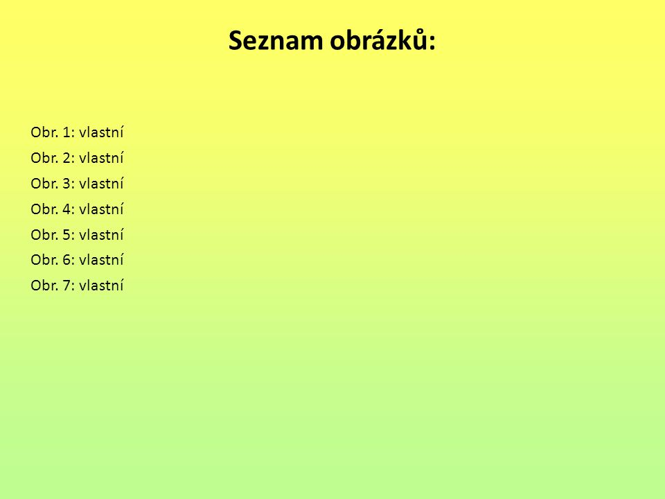 Seznam obrázků: Obr.1: vlastní Obr. 2: vlastní Obr.