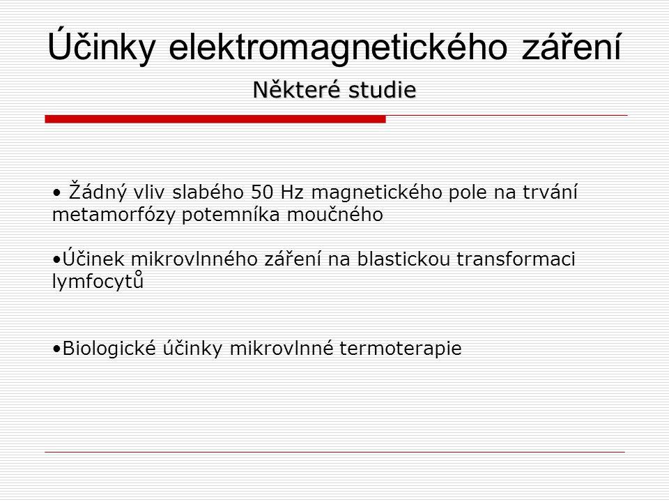 Účinky elektromagnetického záření Některé studie Žádný vliv slabého 50 Hz magnetického pole na trvání metamorfózy potemníka moučného Účinek mikrovlnné